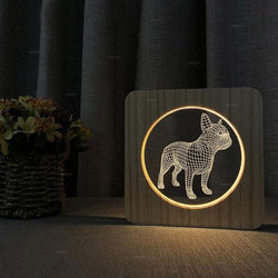 Bulldog 3D Illusion USB LED Wood Nightlight Lamp