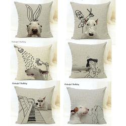 Bull Terrier Black Cartoon Sketch Pillowcase