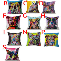 Colorful Water Painting Style Bulldog Bull Terrier Pit Bull Pillowcase
