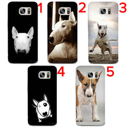 Bull Terrier Portrait Black Background, White Red BT Phone Case for Galaxy