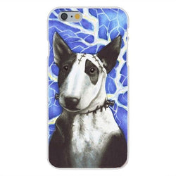 Bull Terrier Stitches Blue Background Phone Case for iPhone