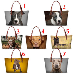 Pit Bull Full Size Portrait Leather Strap Shoulder Bag