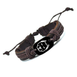 Pitbull Head Outline Woven Leather Braided Bracelet