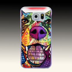 Colorful Quote Happy Full Cover Pit Bull Phone Case for Samsung Galaxy