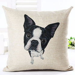 Black White French Bulldog From Top Looking Up Pillowcase