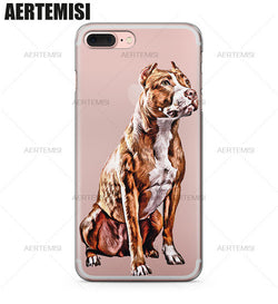 Brown White Detailed Pit Bull Sitting Down Phone Case for iPhone