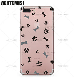 Bone And Paw Pattern Transparent Phone Case for iPhone