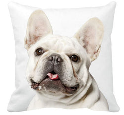 All White French Bulldog Full Head Throw Pillow