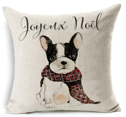 French Bulldog Scarf Joyeux Noel Pillowcase