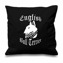 White English Bull Terrier Black Background Pillowcase