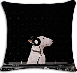 DJ Bull Terrier Side View Headphone Black Pillowcase