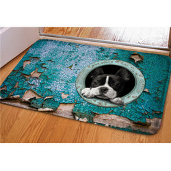 Black White French Bulldog Head Out Of Circle Doormat