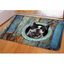 Boston Terrier Head Out Of Circle Doormat