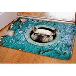 White French Bulldog Head Out of Circle Doormat