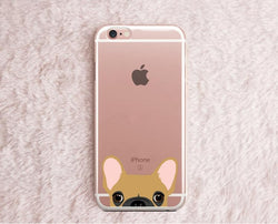 Brown French Bulldog Peaking From Bottom Transparent Phone Case for iPhone