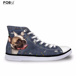 French Bulldog Looking Out Chuck Taylor Style Shoes