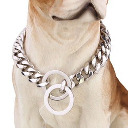 Cuban Silver Chain Link Style 15mm Wide Dog Collar