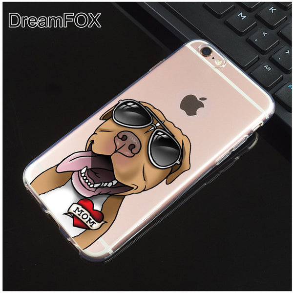 Pit Bull Wear Shades Love Mom Silicone Clear Phone Case for iPhone