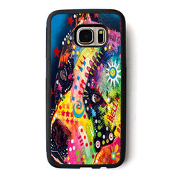 Colorful Pattern Side Look Pitbull Phone Case for Galaxy
