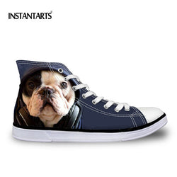 Blue English Bulldog Chuck Taylor Style Shoes