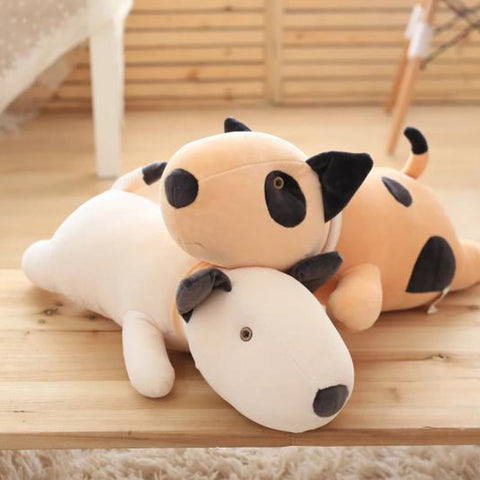 Round Bull Terrier Black Circle Patch Stuffed Animal Pillow