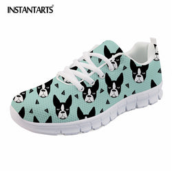 Boston Terrier Pattern Teal Shoes