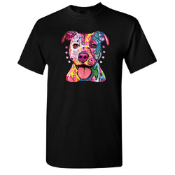 Colorful Happy Pit Bull Creative Design T-Shirt