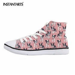 French Bulldog Dog Pattern Pink Chuck Taylor Style Shoes