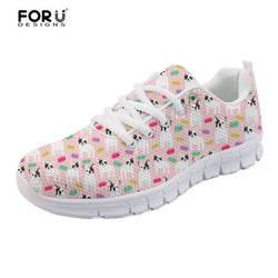 White French Bulldog Pattern Pink Women's Shoes