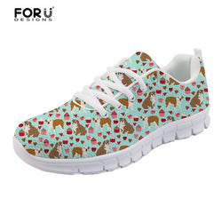 English Bulldog Heart Cupcake Pattern Women's Shoes