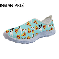 Bull Terrier Pizza Pattern Women's Air Mesh Slip On Shoes