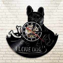 I Love Dog French Bulldog Black Vinyl Record Wall Clock