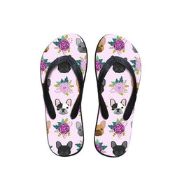 French Bulldog Heads Flowers Flip Flop Slippers