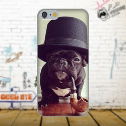 Black French Bulldog Tobacco Pipe Top Hat Phone Case for Galaxy