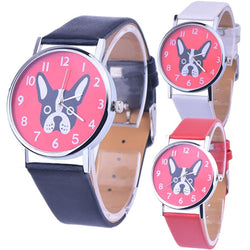 Black White French Bulldog Head Pink Background Leather Quartz Watch