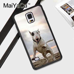 Bull Terrier Black Patch Jumping Sunset Phone Case for Galaxy