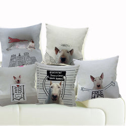 White Bull Terrier Black Outline Sketch Funny Pillowcase