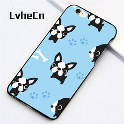 Boston Terrier Bone Paw Pattern Baby Blue Phone Case for iPhone