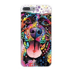 Colorful Pattern Shape Heart Pit Bull Phone Case for iPhone