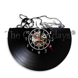 French Bulldog Sleeping Sideway Vinyl Wall Clock