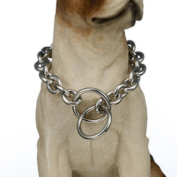 Silver Curb Chain Link Style 15mm Wide Dog Collar
