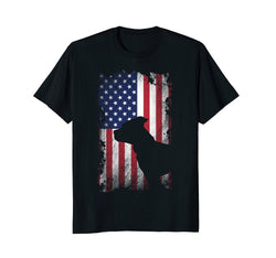 Pitbull Silhouette USA Flag Men's T-Shirt