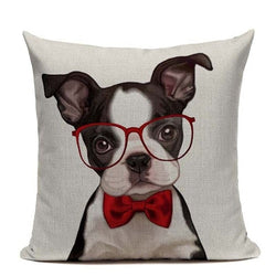 Boston Terrier Puppy Red Bow Tie Glasses Pillowcase