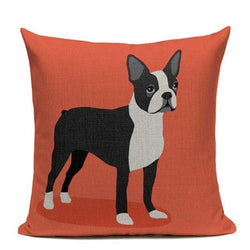 Boston Terrier Orange Background Pillowcase