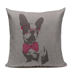 Black White French Bulldog Red Bow Tie Glasses Pillowcase