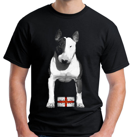 Black White Bull Terrier Portrait England Flag Men's T-Shirt