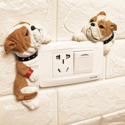 English Bulldog Light Switch 3D Resin Wall Sticker