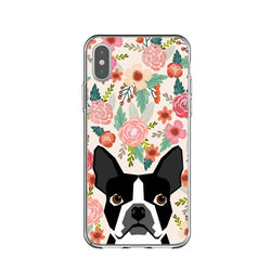 Boston Terrier Floral Background Phone Case for iPhone