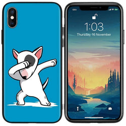 Dabbing White Cartoon Bull Terrier Phone Case for iPhone