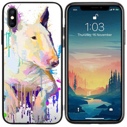 Bull Terrier Prone Color Oil Painting Phone Case for iPhone
